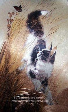 Cat, silk hand embroidered, silk thread painting, all hand embroidered with silk threads on silk satin, from Suzhou China, Su Embroidery Studio