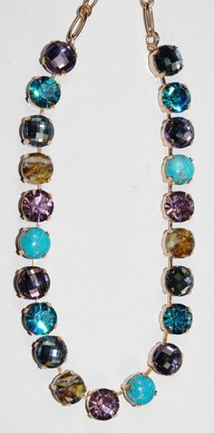 MARIANA NECKLACE SERENITY: blue, purple, turq stones in rose gold sett – European Accent