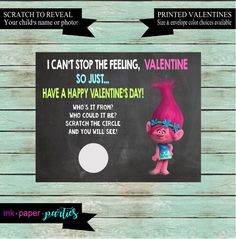 Trolls Valentine's Day Kids Valentine Scratch Off Cards Tickets Party Favors Gifts School Class Personalized Custom