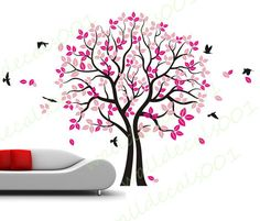 love Tree Wall Decal wall sticker kids decal flower decal room decor nature wall decor graphic mural -twinsTree with Birds
