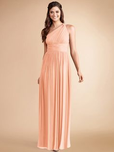 Donna Morgan Rachel. Gathered chiffon plays up this flowing one-shouldered bridesmaid dress. A flattering set in waist tops the full length A-line skirt. Hidden zipper in back.