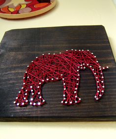 Modern String Art Wooden Tablet - Elephant SIlhouette by NineRed