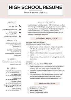 High School Job Resume Unique High School Student Resume Sample & Writing Tips - Schule Ideen Study Tips For High School, High School Jobs, Senior Year Of High School, High School Hacks, High School Life, Life Hacks For School, High School Students, School Tips, High School Counseling