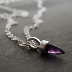 Amethyst Bullet Necklace in Sterling Silver