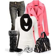 A fashion look from November 2012 featuring scoop neck long sleeve tee, rose pink coat and skinny flare jeans. Browse and shop related looks. Fall Winter Outfits, Autumn Winter Fashion, Love Jeans, Pink Jacket, Swagg, Passion For Fashion, Style Me, Cute Outfits, Clothes For Women