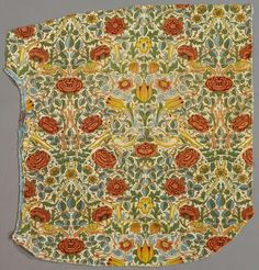 """Textile fragments from """"Wild Rose,"""" a William Morris pattern in @ROMtoronto's collections. 1883"""