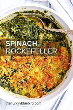 Spinach Rockefeller Recipe – Famous Last Words Cooked Spinach Recipes, Frozen Spinach Recipes, Spinach Bread, Vegetable Recipes, Creamed Spinach Casserole, Side Dish Recipes, Dinner Recipes, Parmesan, Pasta