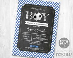 Boy Baby Shower Blue Invitations Soccer It's a by wowwowmeow