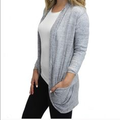 Relished Grey Pocket Cardigan💞 Super cute grey cardigan with pockets! Material is 100% Cotton. Item is true to size and relaxed fit. Perfect for the transition into Fall! Relished Sweaters Cardigans