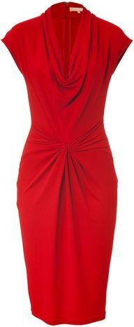 Michael Kors Crimson Red Draped Dress in Red - Lyst