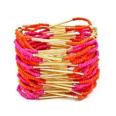 Orange and Fuchsia Beaded Bracelets from The Alchemy Shop on OpenSky. #jewelry #pink #opensky