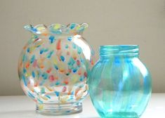 Pouring paint into a jar or vase and letting it coat the inside results in a milk glass or jadite look. Description from carolynshomework.com. I searched for this on bing.com/images