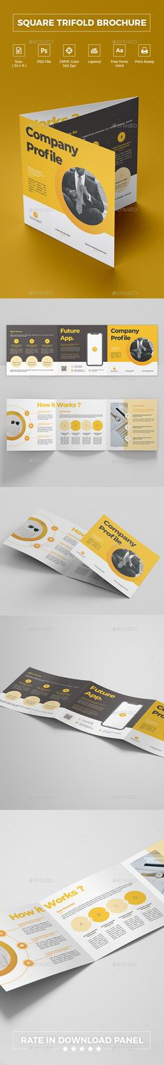 Square Trifold Brochure Corporate Brochure Template by bourjart. Business Cards Online, Create Business Cards, Business Card Maker, Cool Business Cards, Custom Business Cards, Online Visiting Card, Visiting Card Design, Creative Brochure, Corporate Brochure