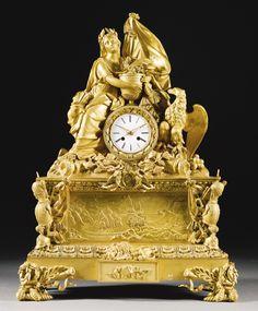 A large ormolu Napoleonic commemorative mantel clock, French, circa 1840 | Lot | Sotheby's