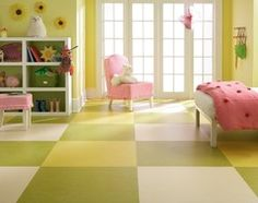 Such a happy kids room.  (really big too)  Marmoleum floor.  My Houzz: An Antique Cape Cod House Explodes With Color