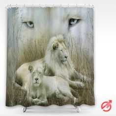 Cheap Lion white couple Shower Curtain