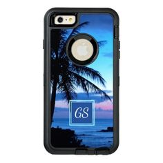 #elegant - #Custom Tropical Island Beach Pink Blue Sunset OtterBox Defender iPhone Case