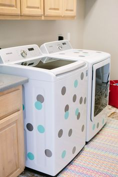Fun idea! Add removable decals to washer and dryer