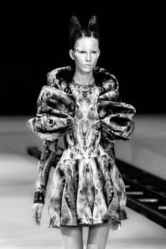 Wearable Art - bold printed dress with sculptural silhouette; 3D fashion // Alexander McQueen