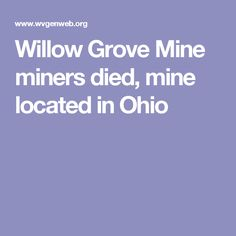 Willow Grove Mine  miners died,  mine located in Ohio
