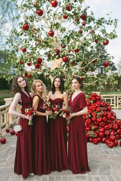 Outdoor Wedding Ideas Trendy wedding backdrop red bridesmaid dresses ideas Wedding Favors Ideas You Deep Red Wedding, Red And White Weddings, Burgundy Wedding, Dream Wedding, Trendy Wedding, Red And White Wedding Decorations, Yellow Wedding, Fall Bridesmaid Dresses, Red Bridesmaids