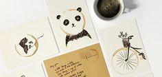 Des cartes postales à compléter avec une tâche de café