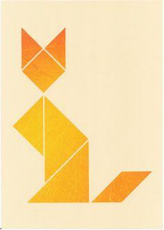 tangram fox print on woven paper by twan van keulen Tangram, Fox Crafts, Cat Tattoo, Kitty Tattoos, Origami, Tattoo Project, Animal Quilts, Fox Print, Yarn Thread