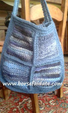 borsa uncinetto a piastrelle con la lana
