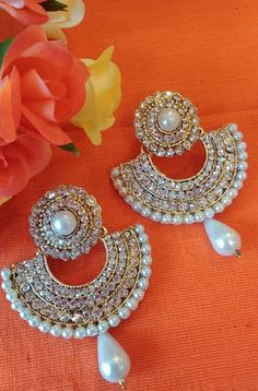 Ram leela gold pearl jewellery Bollywood Indian fashion dangle earrings Saree