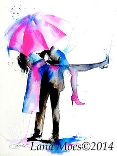 Love Paris Romance Kiss Original Watercolor Painting by Lana Moes, #watercolor, #love,#painting