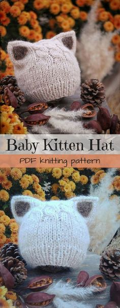 This is such a gorgeous kitten knit hat pattern! It would look so sweet on a new baby! I can't wait to make one when the next little baby is born! Makes a simple kitten or fox knit hat! Gorgeous pdf knitting pattern! #etsy #ad #download #beanie #toque #photoprop
