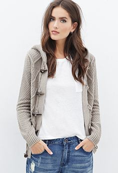 Multi-Knit Hooded Toggle Cardigan | FOREVER21 - 2000060394