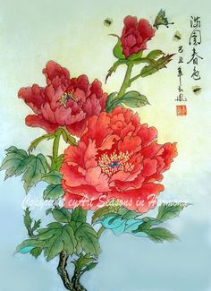 Chinese Brush Painting  Spring Melody  Red Peonies and by eyArt, $25.00  The colors are gorgeous!!!