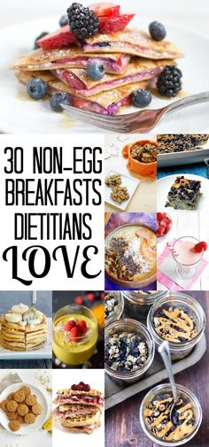 Don't let breakfast get boring! Try out these 30 AWESOME healthy, non-egg breakfast ideas dietitians LOVE! Many gluten-free, vegan options available! | by Stacey Mattinson, MS, RDN, LD