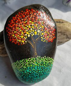 Fall Tree Dot Art Painted Stone Fall Gift Rock Art Autumn
