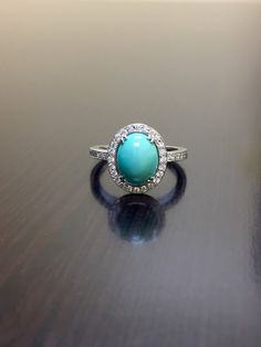 White Gold Diamond Turquoise Engagement Ring by DeKaraDesigns Art Deco Diamond Rings, Diamond Wedding Rings, Halo Diamond, Gold 1, White Gold Diamonds, Round Diamonds, 18k Gold, Sapphire Band, Vintage Style Rings