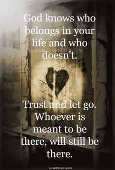 Trust in what is to become & trust the past is behind you for a reason.