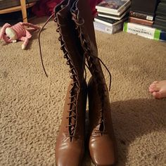Boots  never worn Vintage boots Newport News Shoes Lace Up Boots