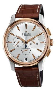 Men watches gold Zenith Men's 51.2112.400/01.C498 El Primero Captain Gold and Silver Dial Watch