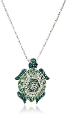 Sterling Silver Green Turtle with Swarovski Elements Pendant Necklace >>> Tried it! Love it! Click the image. : Jewelry Necklaces
