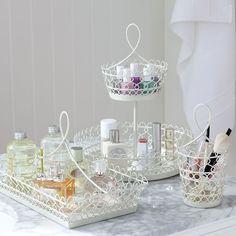 PBteen White Wire Beauty Storage