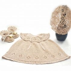 Baby dress+booties+beret set made of 100% mercerized cotton thread and very tiny crochet hook.