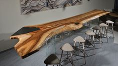 Take a look at our tree trunk bar tables & bar elements. We manufacture exclusive single pieces for general gastronomy and the hotel industry. Slab Table, Wood Table, Dining Table Design, Dining Tables, Esstisch Design, Wood Creations, Wooden Bar, Cabinet Design, Wood Furniture