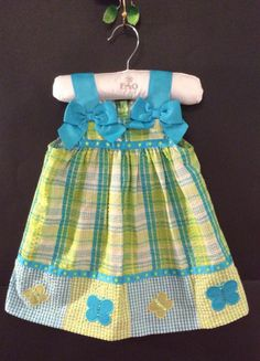 18 18M BONNIE BABY EUC Girls Summer Blue Green Sundress BOUTIQUE Butterfly Dress #BonnieBaby #DressyEveryday