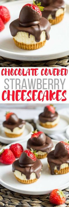 Covered Strawberry Mini Cheesecakes Light and fluffy, these delectable cheesecakes are topped with chocolate covered strawberries.Light and fluffy, these delectable cheesecakes are topped with chocolate covered strawberries. Mini Desserts, Easy Desserts, Delicious Desserts, Dessert Recipes, Yummy Treats, Sweet Treats, Fingerfood Party, Dessert Aux Fruits, Mini Cheesecakes