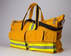 the genius idea of turning a retired fireman's turnout coat into an overnight/duffle bag.