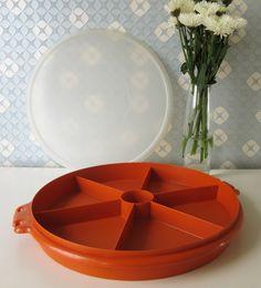 Vintage Orange Round Tupperware Container with Lid 1970s door Vantoen op Etsy