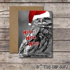 Hoo Hoo Hoo / Printable DIY Christmas Greeting Card / Funny Owl Santa Photo Xmas Card // Instant Download