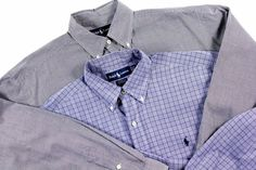 LOT of 2 Polo Ralph Lauren M Mens Button Front shirts Blake houndstooth Yarmouth #PoloRalphLauren #ButtonFront