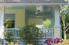 Perfect example of a haint blue porch ceiling. From Front-Porch-Ideas-and-More.com #porch